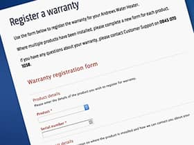 Andrews water heaters warranty registration